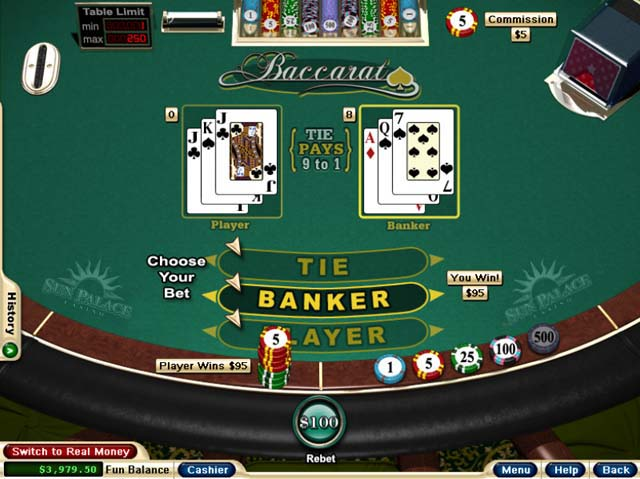 Try a new online game like baccarat